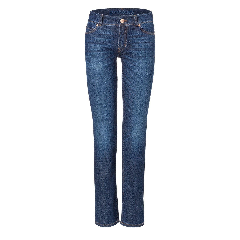 Damen Bluejeans Jeans breite Naht gerader Schnitt Denim Hose dunkel blau Gr S