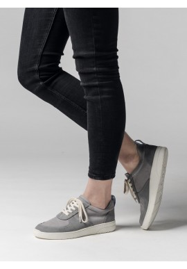 Melawear Fairtrade Sneakers Damen Leder grau