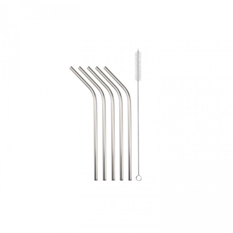 Glas-Strohhalme 5er-Set gebogen Strawganic silber