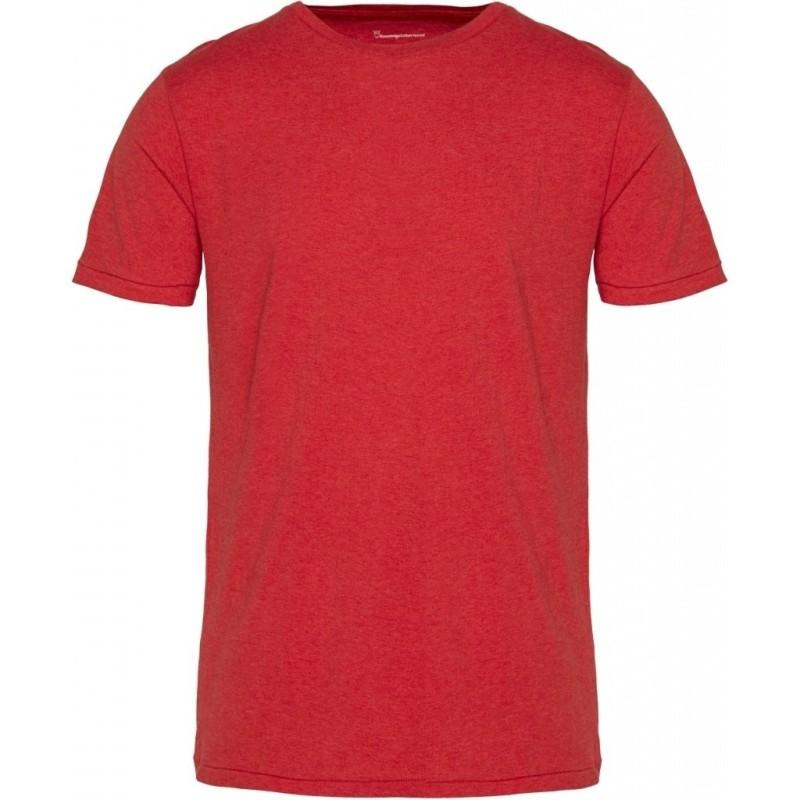 Basic-T-Shirt O-Neck Knowledge Cotton Apparel Alder scarlet melange