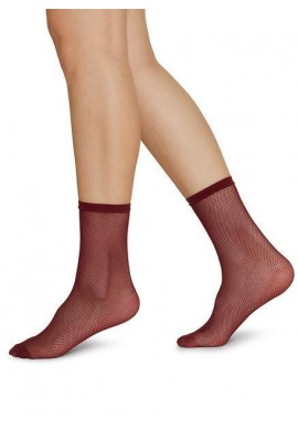Swedish Stockings Elvira Net Ankle Socks wine