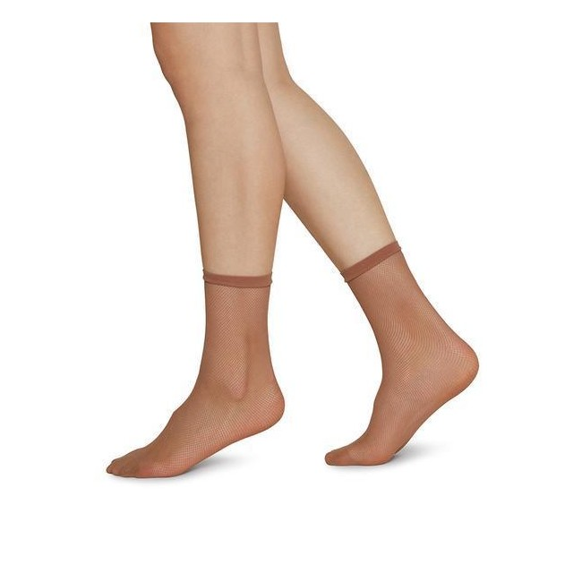 Swedish Stockings Elvira Net Ankle Socks caramel