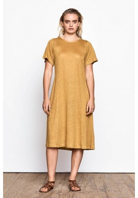 Kleid Maska Unna Linen Dress yellow jade