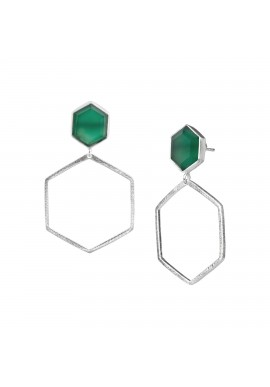 Ohrringe Protsaah Two Hexagon Stone Frame silver (ER-SP-005-AG)