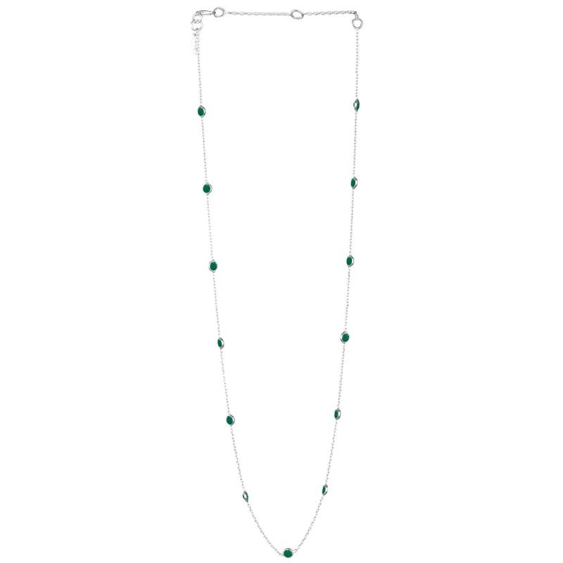 Halskette Protsaah Dotted Round Stone Green Onyx Short Chain silver (NK-SH-006-AG-GO)