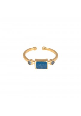 Ring Protsaah Three Stone Blue Quartz gold (RN-S-013-AU-BQ)