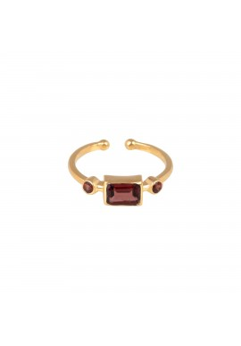 Ring Protsaah Three Stone Garnet gold (RN-S-013-AU-GN)