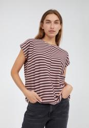 T-Shirt Armedangels Jaarin knitted Stripe Aubergine-Kinoko