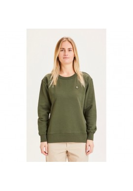 Damen-Sweatshirt Knowledge Cotton Apparel Daphne Basic Badge Sweat Forrest Night