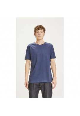 Basic-T-Shirt O-Neck Knowledge Cotton Apparel Alder insigna blue melange