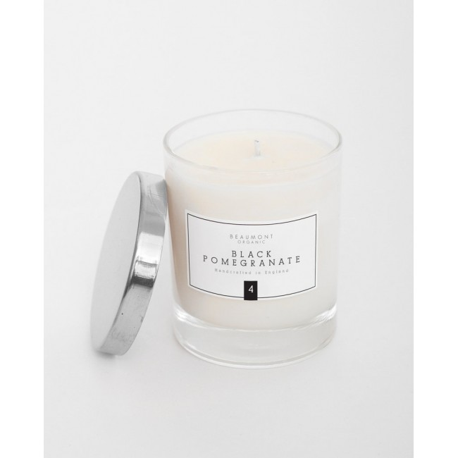 Image of Duftkerze Beaumont Organic Classic Candle With SIlver Lid Black Pomegrate