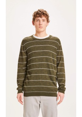 Pullover Knowledge Cotton Apparel Forrest O-Neck Striped Knit Forrest Night