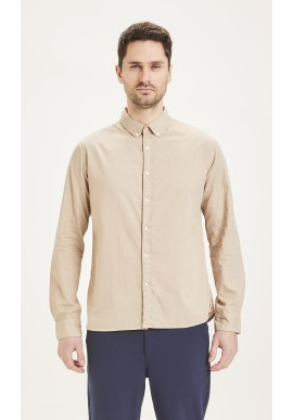 Cord-Hemd Knowledge Cotton Apparel Larch Casual Fit Light Feather Gray