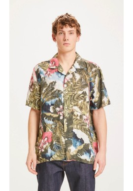 Leinen-Hemd Knowledge Cotton Apparel Wave Loose Fit Hawaii Printed Forrest Night