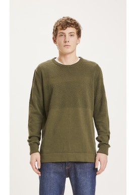Strickpullover Knowledge Cotton Apparel Field Bobble Knit Forrest Night