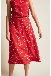 Midi-Rock Lanius Print Moonflower Red