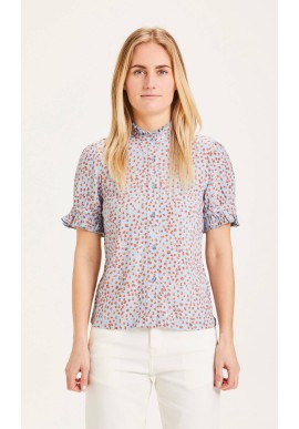 Blouse Knowledge Cotton Apparel Veronica Printed SS Asley Blue