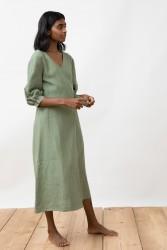 Wickelkleid Jungle Folk Linen Wrap Dress Wanja Almond Green