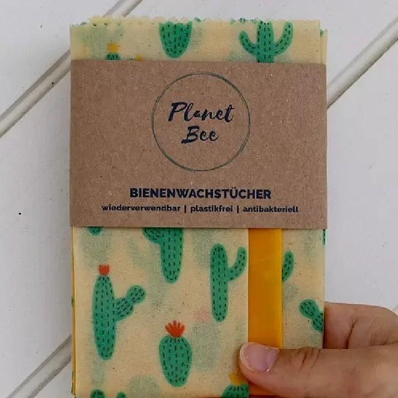 Bienenwachstuch 3er-Set Planet Bee (S/M/L) Cactus