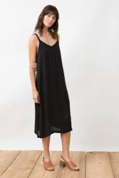 Maxi-Kleid Jungle Folk Peace Silk Slip Dress Alvaro Black