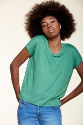 T-Shirt Les Racines du Ciel Linen V-Neck Green