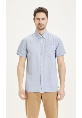 Tencel-Hemd Knowledge Cotton Apparel Larch SS Garment Dyed Asley Blue
