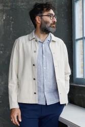 Kurzarmhemd About Companions Kuno Shortsleeve Shirt Striped Navy