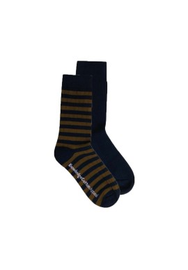 2-er Pack Socken Knowledge Cotton Apparel Timber Striped/Solid Total Eclipse