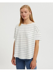 T-Shirt Armedangels Melinaa Stripes Oatmilk-Foggy Blue