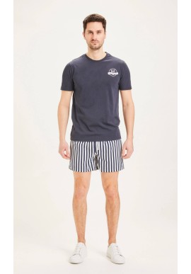 Badehosen Knowledge Cotton Apparel Bay Stretch Striped Swimshorts Total Eclipse