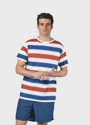 T-Shirt Klitmøller Collective George Tee Cream Petrol Clay Red