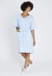 Midi-Kleid Recolution Stripes Dusk Blue-White