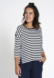Longsleeve Recolution Tencel Stripes Navy-White
