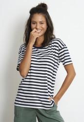 Tencel-T-Shirt Recolution Tencel Stripes Navy-White