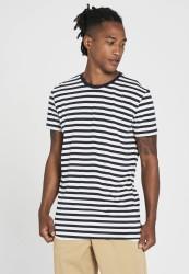 Tencel-T-Shirt Recolution Stripes Navy-White