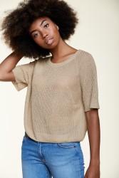 Kurzarm-Pullover Les Racines du Ciel Rib Sweater Beige