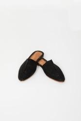 Slippers Jungle Folk Straw Baba Black