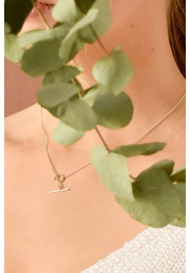 Halskette Wild Fawn Squared T-Bar Toggle Choker Necklace Silver