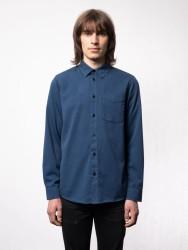 Hemd Nudie Jeans Chet Pigment Dye Indigo Blue