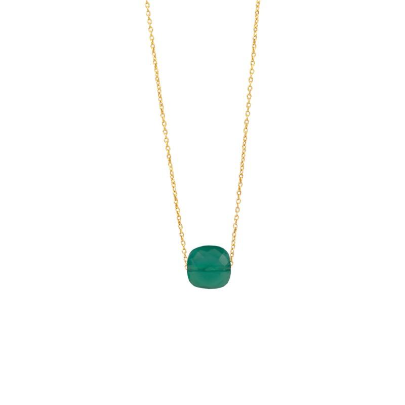 Halskette Protsaah Quadra Faceted Green Onyx Gold (NK-SH-007-AU-GO)