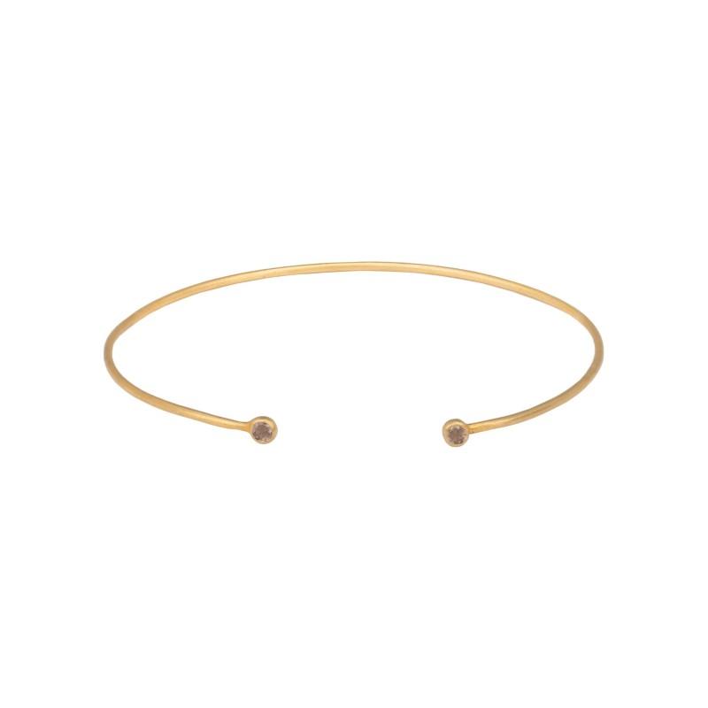 Armreif Protsaah Fine Bangle Smoky Quartz Gold (AC-BR-005-AU-SQ)