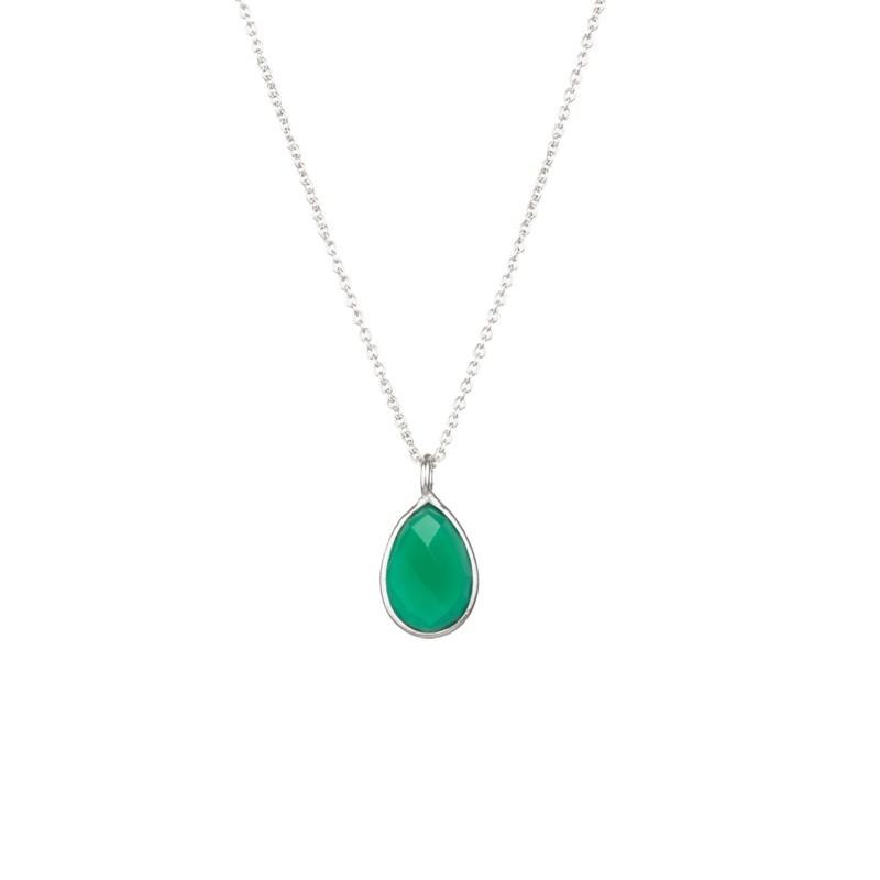 Halskette Protsaah Teardrop Green Onyx Silver (NK-SH-004-AG-GO)
