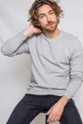 Sweatshirt Kuyichi Brian Basic Round Neck Sweat Grey Melange