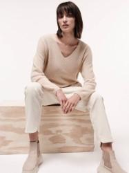 Pullover mit V-Ausschnitt GOTS Lanius Natural Melange