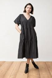 Kleid Jungle Folk Kamuki Dress Black Ikat Lines